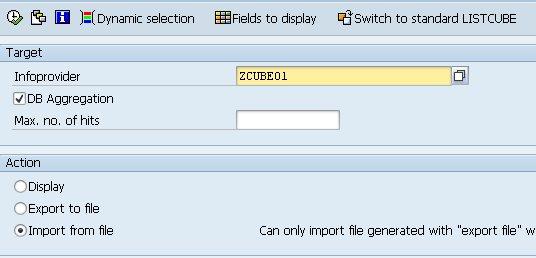 Ecran de sélection ZLISTCUBE