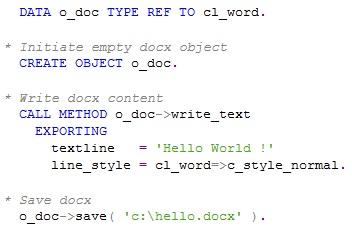 Code pour générer un DOCX Hello World en ABAP